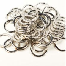 Pack of 10 Flat Silver Metal 30mm 'O' Ring